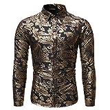 SNOWSONG Mens African Print Long Sleeve Dress Shirts Button up Casual Dashiki Slim Fit T-Shirt Top Black