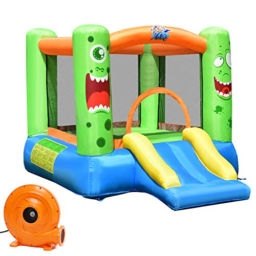 Costzon Inflatable Bounce House, Castle Jump and Slide Bouncer with Oxford Mesh Wall, Ideal for Indoor & Outdoor Use, Including Oxford Carrying Bag, Repair Kit, Stakes, 580W Air Blower, ()