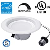 "Dimmable LED Retrofit Light Fixture 4 inch kit E26 - E27 base - 9W (70W), 5000K - cool white, Energy Star and Certified, Suitable for Damp Locations, Easy Installation into Standard 4"" housing, 30,000 hrs - Save $ on Replacement costs, 5 years warranty"