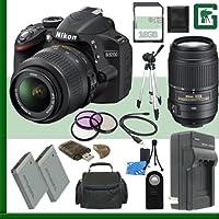 Nikon D3200 CMOS DSLR Camera with 18-55mm VR Lens (Black) + Nikon 55-300mm f/4.5-5.6G ED VR AF-S DX Lens + 16GB + Green's Camera Bundle Basic Facts Review Image