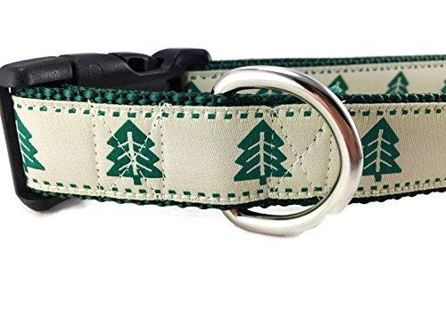 Christmas Tree Dog Collar, Caninedesign, Evergreen, 1 inch Wide, Adjustable, Nylon, Medium and Large (Christmas Tree, Medium 13-19