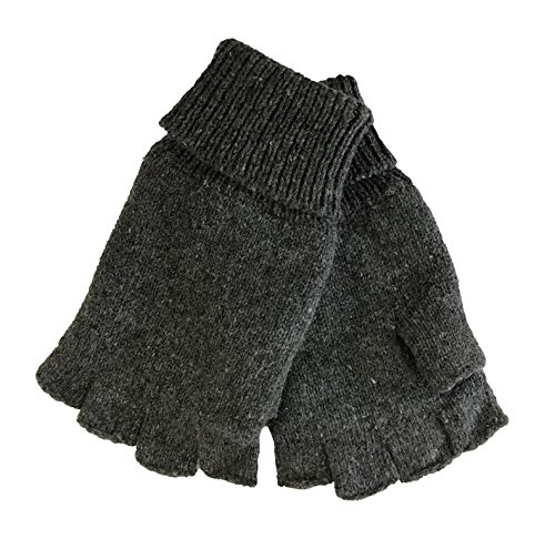 Fingerless Gauntlet - Mens Fingerless Ragg Wool Gloves With Inner Fleece Palm Lining (L/XL, Charcoal)