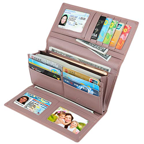 (Lavemi RFID Blocking Trifold Leather Checkbook Clutch Wallets for Women(Dark Pink))