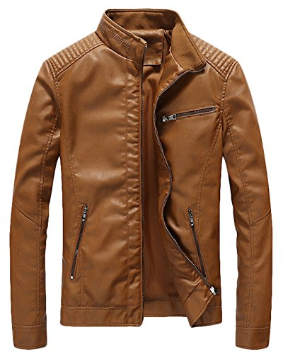 Youhan Men's Casual Zip Up Slim Bomber Faux Leather Jacket (XX-Large, Yellow)