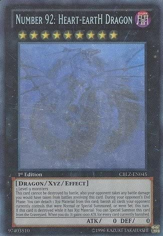 Yu-Gi-Oh! - Number 92: Heart-eartH Dragon (CBLZ-EN045) - Cosmo Blazer - 1st Edition - Ghost Rare by Yu-Gi-Oh!