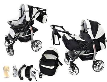 2 en 1 sistema incluye con 360 ° giratorio ruedas, carrito de bebé para cochecito de bebé y accesorios de viaje, blanco y negro: Amazon.es: Bebé