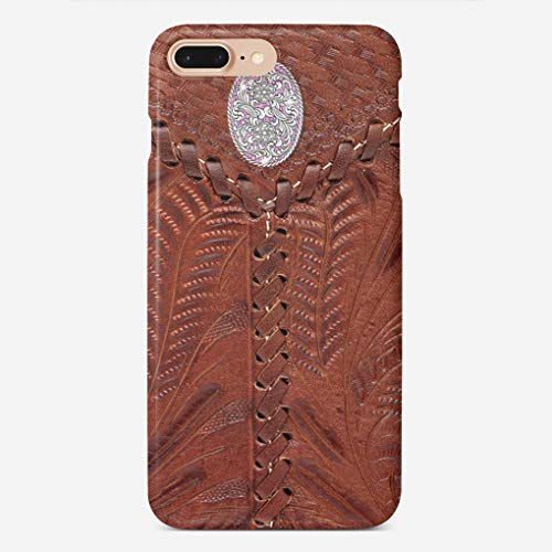 BEETLE CASE Compatible with iPhone 7/8 Plus Case Western Brown Leather Concho Filigree Print Unique Pattern Design Slim Fit Shell Hard Plastic Full Protective Anti-Scratch Resistant Cover