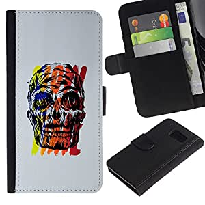 A-type (Red Skull gris cartel colorido amarillo) Colorida Impresión Funda Cuero Monedero Caja Bolsa Cubierta Caja Piel Card Slots Para Samsung Galaxy S6