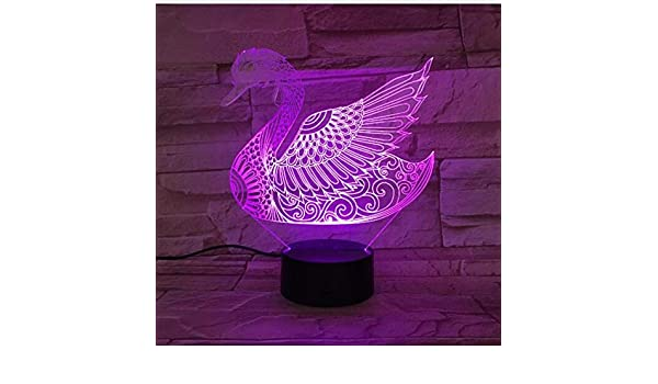 7 Colorful Two Swans 3d Table Lamp Acrylic Stereo Lights Childrens Room Decorative For Birthday Christmas Toys Gift For Lovers Lights & Lighting