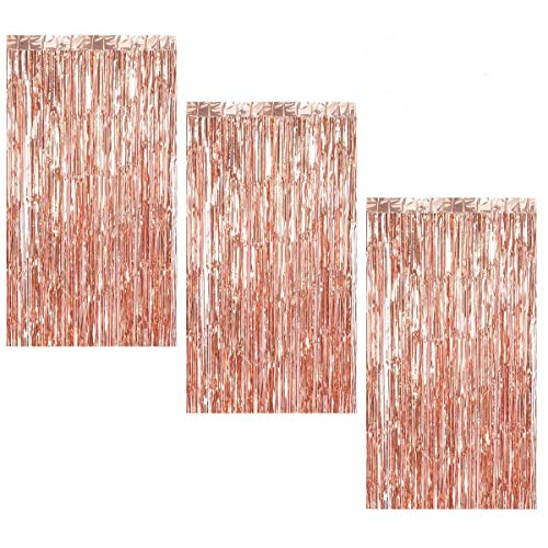 Halloween Engagement Party (3Pcs 3.2ft x 8.2ft Rose Gold Metallic Tinsel Foil Fringe Curtains for Halloween Party Bachelorette Birthday Wedding Baby Shower Engagement Holiday Party Decorations - Party Photo)