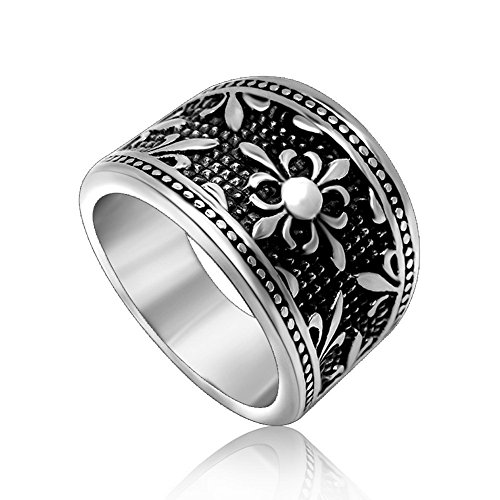 Beautiful Bead Retro Style Men's Titanium Polished Ring with Unique Cross Pattern US Size (Bead Ring Patterns)