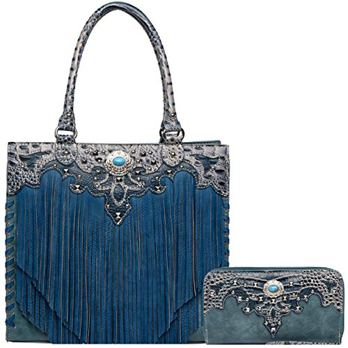 Western Style Cowgirl Fringe Concealed Purse Conchos Totes Country Women Handbag Shoulder Bags Wallet Set (3 Turquoise ()