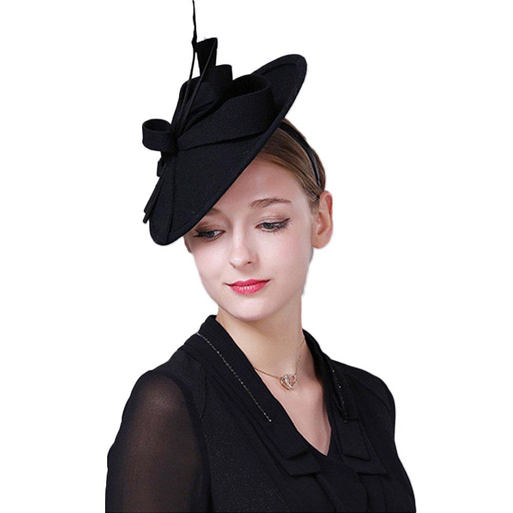 Vintage Womens Dress Fascinator Wool Pillbox Hat Formal Church Wedding Tilt Hat Black by FADVES (Image #2)