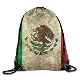 Vintage Mexico Flag Portable Sack Bag, Drawstring Backpack, Sport Bag, Drawstring Bag For Men Women, Sport , Travel, Home, Gym, Outdoor, Activity (16.9 14.2 Inch)