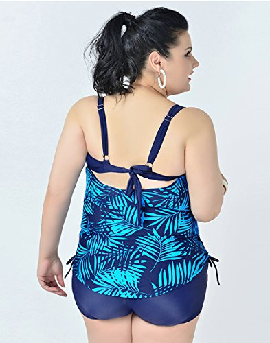 Niseng Mujer Trajes De Baño Una Pieza Grande Talla Bañadores Conjuntos De Falda Y Pantalones Cortos Azul Lago