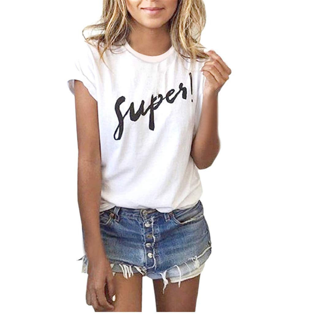 Yaseking Women Summer Short Sleeve Blouse, Letter Printed Pullover Casual Tees T-Shirt Loose Tops (S, White)