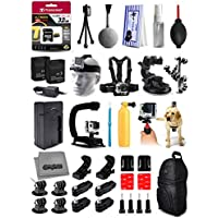 Opteka Cleaning Kit + 32GB Card + 2x Batteries + Travel Charger + X-Grip Stabilizer + Car Suction Cup + Backpack + Chest Strap + Head Strap + Helmet Kit + More For GoPro Hero4 Cameras