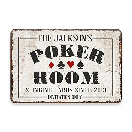 (Pattern Pop Personalized Vintage Distressed Look Poker Room Metal Room Sign)