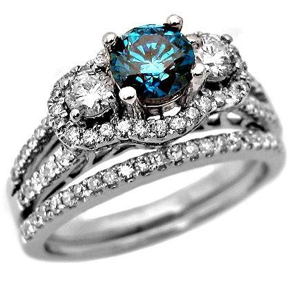 2.05ct Blue Round Diamond Engagement Ring Wedding Set 14k White Gold