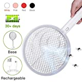Electric Large Bug Zapper Racket, Mosquito killer, Fruit Fly Swatter Zap, Pest Control, USB Rechargeable, LED Lighting, Removable flashlight, Unique 3 Layer Safety Mesh Safe to Touch: more info