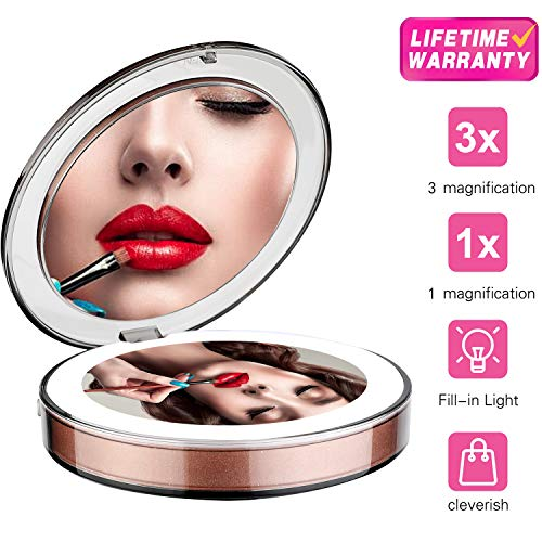 DOTSOG 1X/3X Magnification Compact Folding Double Mirror | Rechargeable Lighted Makeup Mirror, Magnification for Blackheads/Blemishes, Pocket Size, LED Mirror for Travel