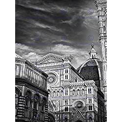 PHOTO ARCHITECTURE FLORENCE DUOMO CATHEDRAL BLACK WHITE ITALY 30x40 cms POSTER BMP10885