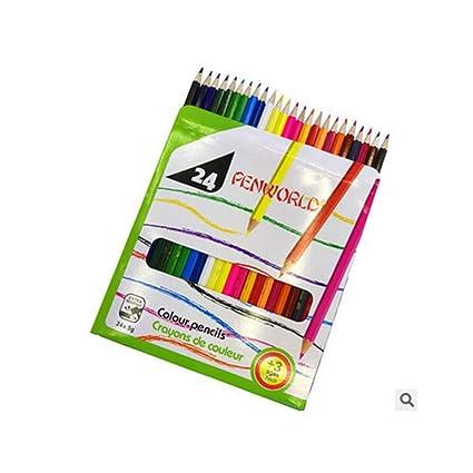 Juego de 24 lápices de colores largos para dibujo artístico para ...