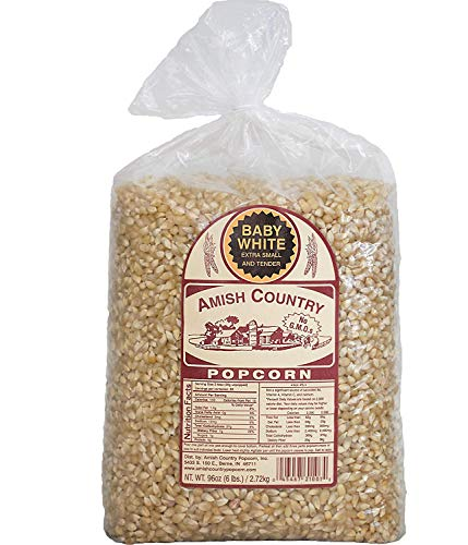 Amish Country Popcorn -Baby White Extra Small and Tender Popcorn, Old Fashioned and Non-GMO - 6 lb Bag with Recipe Guide and 1 Year Freshness Guarantee