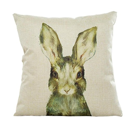 Fheaven Cute animals Pillow Case Sofa Waist Throw Cushion Cover Home Decor for Merry Christmas and Halloween(Cats, dogs, bears, rabbits) (Cat Dog Halloween)