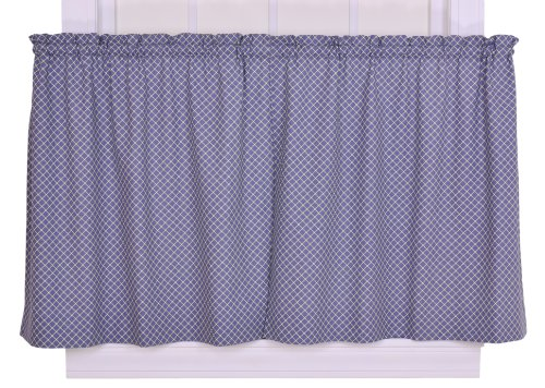 Tyvek Small Scale Diamond 68 by 36-Inch Tailored Tier Curtains, Blue