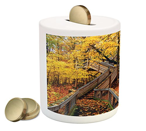 Woodland Coin Box Bank By Lunarable  Scenic Autumn Colorful Image Of Rock Cut State Park Illinois Wooden Stairs Leaves  Printed Ceramic Coin Bank Money Box For Cash Saving  Multicolor