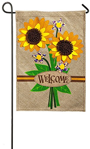 - Evergreen Sunflower Bouquet Double-Sided Burlap Garden Flag- 12.5
