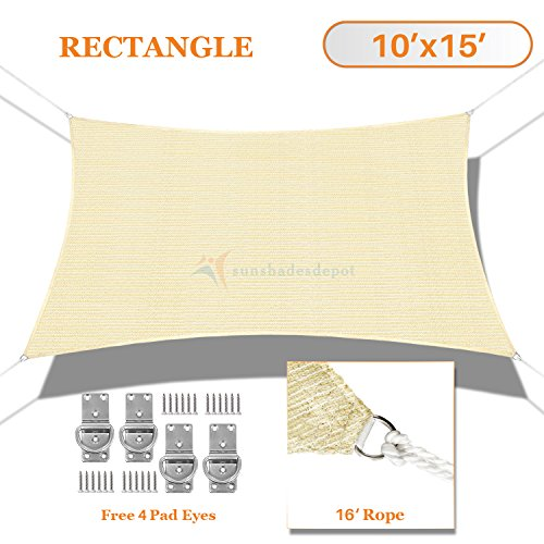 Sunshades Depot 10' x 15' Sun Shade Sail Rectangle Permeable Canopy Tan Beige Custom Size Available Commercial Standard