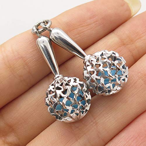 925 Sterling Silver 2 Fiesta Maracas Music Pendant Jewelry Making Supply by Wholesale Charms