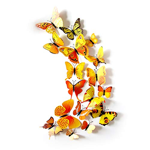 JYPHM 24PCS Butterfly Wall Decal Removable Refrigerator Magnets Mural Stickers 3D Wall Stickers for Kids Home Room Nursery Decoration Wall Art Yellow ()
