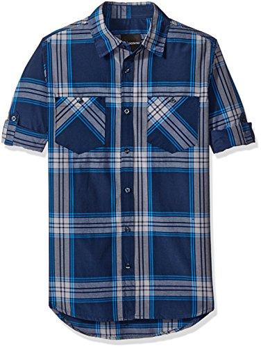 (Akademiks Men's Mercer Woven Shirt, Midnight, Large)