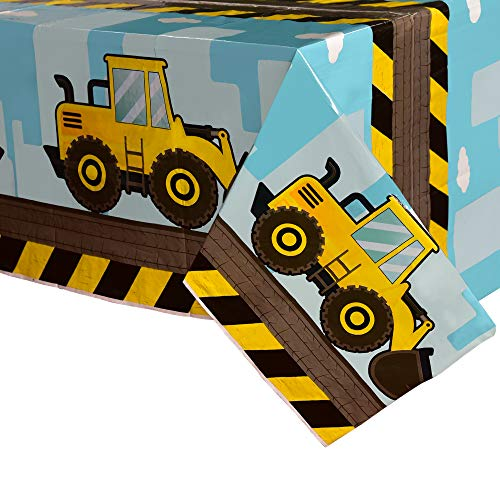 WERNNSAI Dump Truck Table Covers - 71''x 43.3'' Disposable Printed Plastic Tablecloth Party Supplies for Kids Boys Birthday Construction Party Decorations -