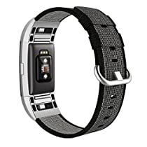 Fitbit Charge 2 Armband, Swees Nylon Sportarmband Uhrenarmband Replacement Wrist Strap für Fitbit Charge 2 Smartwatch Small & Large (5.3-8.2) - Blau, Schwarz, Rosa