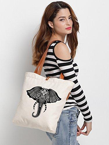 IN.RHAN Women's Elephant Graphic Canvas Tote Bag Casual Shoulder Bag Handbag