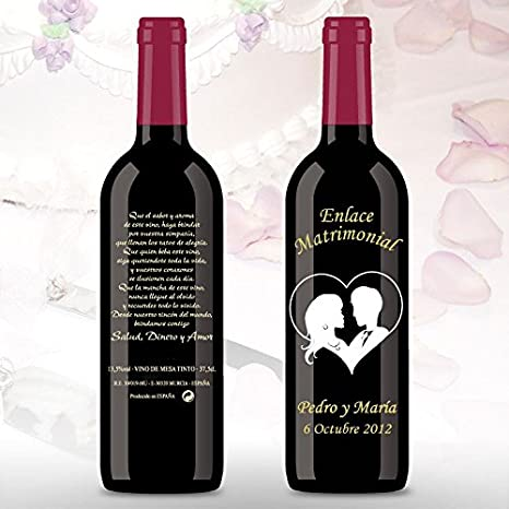50 Botellas de vino Tinto (3/8) decorada directamente sobre vidrio con dibujo de una pareja novios corazón para detalles de boda, personalizado con los nombres de los novios y las fechas
