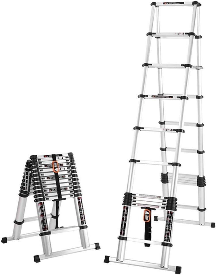 ZR- Aluminio Escalera Telescópica, Portátil Escalera Plegable Cuadro Tipo A Escalera De Extensión, Capacidad De 330 Lb, Certificado EN131 -Fácil de almacenar y fácil de llevar (Size : 3.2m(10.4ft)): Amazon.es: Hogar
