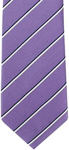 Purple/White Summer Stripe Silk Tie by Michelsons of London