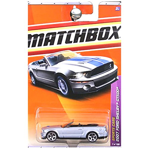 Ford Gt500 Shelby 2007 (Matchbox 2007 Ford Shelby Mustang GT500 in Silver with Blue Stripes Convertible #7)
