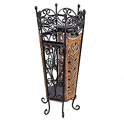 Beyond Arts Wooden And Wrought Iron Umbrella Stand 10 4 X 10 4 X 22
