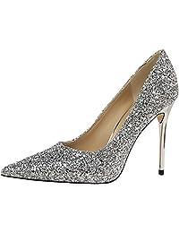 PPXID Women's Glittery Sequins Pointed-Toe Stilettos High Heel Wedding Pumps