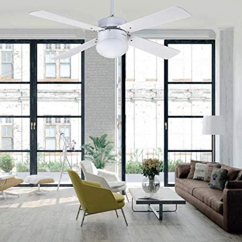 Novedad en ventilador de techo 107 cm TRAMONTANA blanco con luz Fabrilamp.