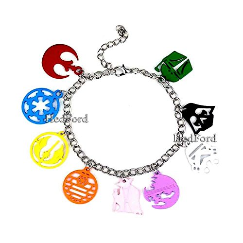 [SW Star Wars Themed Charm Color Full Bracelet] (Tin Foil Robot Costume)