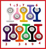 CPI - 2X Nurse Silicone Fob Tunic Watch Many Colours Silicone Strap,Brooch & Battery