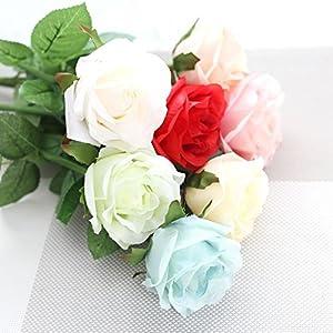 LySanSan - 10pcs/lot Vivid Rose Artificial Flowers Desktop Silk Flower Simulation Plant Wedding Houseware Home Decor 67