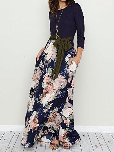 3 Pockets Long Bigyonger Tie Maxi 4 with Waist Floral Striped Casual Dress Sleeve Print Womens Navy Patchwork Zggwq7En